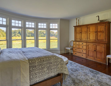 First Floor Master Bedroom with Curved Wall of Windows