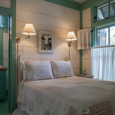 Example of a beach style bedroom design in Miami with multicolored walls
