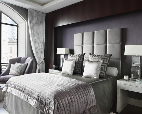Amazing Contemporary Master Bedroom Idea In London With Gray Walls Part 32