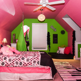 Bedroom - mid-sized transitional loft-style carpeted bedroom idea in Richmond with pink walls