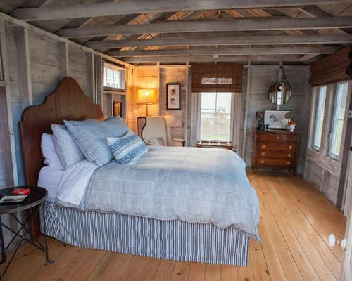 Example of a country medium tone wood floor bedroom design in Portland Maine. 9 X 12 Bedroom Ideas And Photos   Houzz