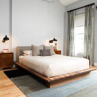 Camera da letto eclettica con pareti grigie - Foto e Idee ...