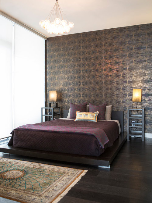 chambre asiatique avec un sol en bois fonc photos et id es d co de chambres. Black Bedroom Furniture Sets. Home Design Ideas