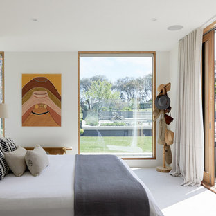 Photo of a scandinavian bedroom in Melbourne with white walls and no fireplace.
