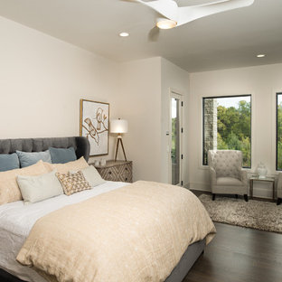 Example of a mid-sized trendy master dark wood floor bedroom design in Wichita with white walls