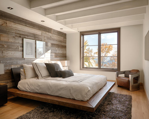 Rustic Bedroom Design Ideas Remodels Photos With Medium Tone Hardwood