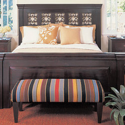 Florence Panel Bed - The Florence bed frame gives off the aura of a piece of furniture that must have been passed through generations. The carved wooden panels are accented with solid cast iron scroll work inspired by classic themes from the past. The dark mahogany stain is hand-distressed by our craftsmen, in order to give each piece a unique look. Only you will know that the Florence bed frame is not a family heirloom. Sleep in style on this lovely frame, which is available in Queen, California King, and Eastern King sizes. Let the beautiful wood grain make a statement in your bedroom decor.