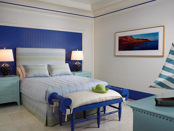 Tropical Bedroom by John David Edison Interior Design Inc.
