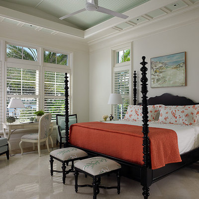 Island style bedroom photo in Toronto with white walls