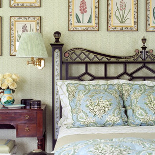 Design ideas for a victorian bedroom in Miami with green walls.