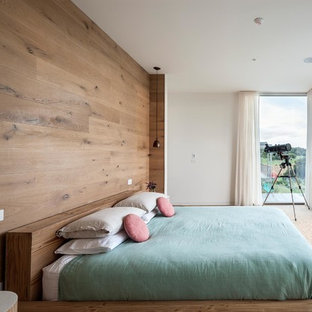 Example of a danish master carpeted bedroom design in Melbourne with brown walls