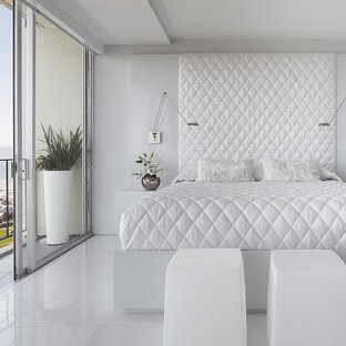 This Is An Example Of A Modern Bedroom In San Francisco With White Walls Marble