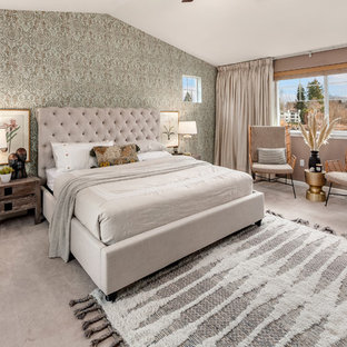 Bedroom Transitional Guest Carpeted And Gray Floor Idea In Seattle With Walls