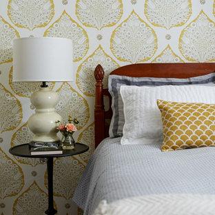 Elegant dark wood floor bedroom photo in San Francisco with multicolored walls