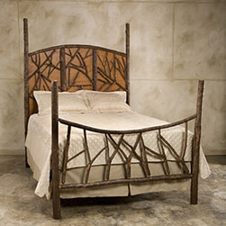 Forest Panel Hickory Bed FR-424 - Constructed of hickory saplings with the bark left on. Can be made wood stained with the bark peeled off. Made to any dimensions and specifications. Can be made as headboard only or with a surround and as a four post bed with or without canopy.