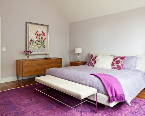 Example of a trendy bedroom design in Austin with gray walls. Magenta   Houzz