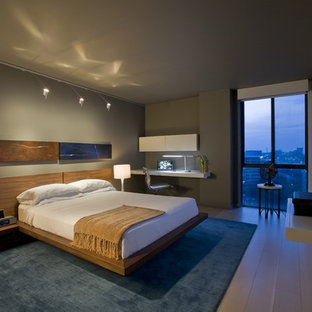 Inspiration for a contemporary medium tone wood floor bedroom remodel in DC Metro with gray walls
