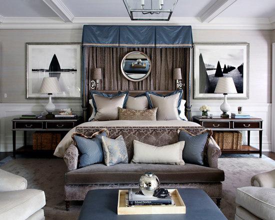 Ice Blue Brown Grey Bedroom Design Ideas Remodels Photos Houzz