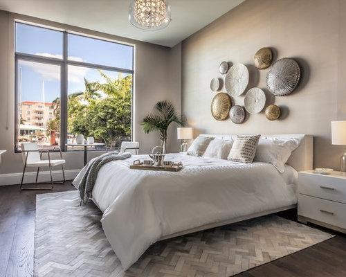 bedroom contemporary dark wood floor and brown floor bedroom idea in miami with gray walls - Interior Design For Rooms Ideas