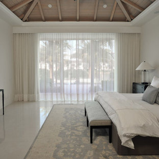 Bedroom - large contemporary master marble floor and beige floor bedroom idea in Miami with white walls and no fireplace