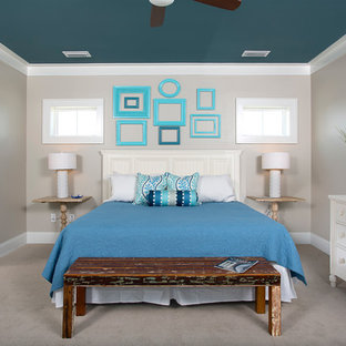 Bedroom - contemporary master carpeted bedroom idea in Miami with beige walls