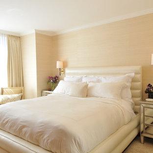 Mid-sized trendy master dark wood floor and beige floor bedroom photo in Boston with beige walls and no fireplace