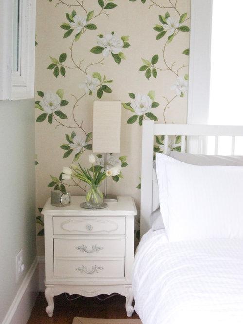 Contemporary Medium Tone Wood Floor Bedroom Idea In San Francisco With  Beige Walls