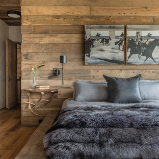 Inspiration for a large rustic guest medium tone wood floor and brown floor bedroom remodel in Other with beige walls, a standard fireplace and a stone fireplace