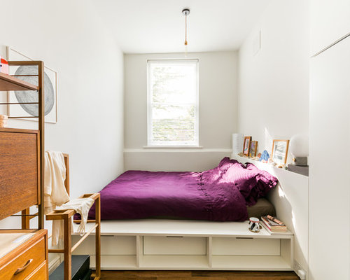 Photo of a contemporary guest bedroom in London with white walls  dark  hardwood flooring and. Mauve Bedroom Ideas and Photos   Houzz