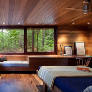 Bedroom Mid Sized Modern Master Dark Wood Floor Idea In Boston Save Photo Frank Lloyd Wright Inspired