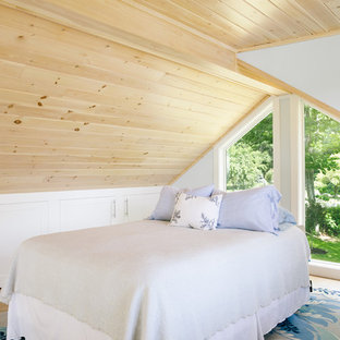 Small country loft-style bedroom in Portland Maine with multi-coloured walls, light hardwood floors, no fireplace and beige floor.