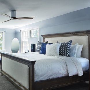 Mid-sized elegant master carpeted bedroom photo in Minneapolis with blue walls