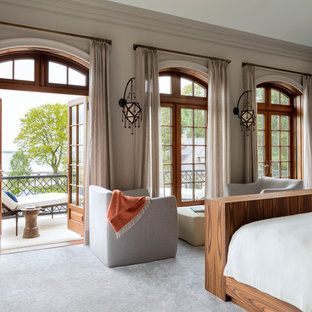 Bedroom - french country carpeted and gray floor bedroom idea in New York with gray walls