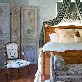 Bedroom - french country guest medium tone wood floor bedroom idea in Richmond with multicolored walls