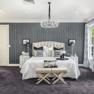 Transitional bedroom in Sydney with grey walls, carpet, black floor and wallpaper.