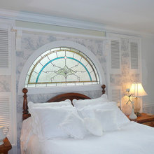 Leaded glass windows and doors, mirrors,