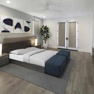 Idee per una camera matrimoniale design di medie dimensioni con pareti grigie, pavimento grigio e pavimento in vinile