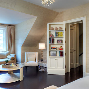 Inspiration for a contemporary guest dark wood floor bedroom remodel in DC Metro with beige walls