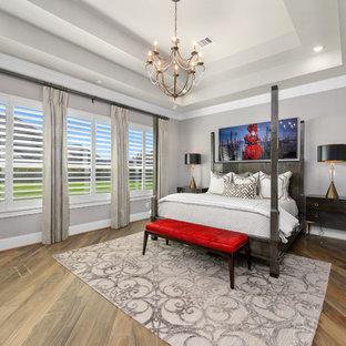Bedroom - mid-sized transitional master medium tone wood floor and brown floor bedroom idea in Houston with gray walls