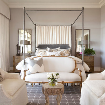 Example of a classic master bedroom design in Houston with gray walls and no fireplace