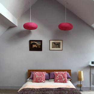 ロンドンの大きいエクレクティックスタイルのおしゃれな主寝室 (グレーの壁、カーペット敷き)