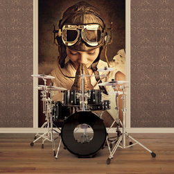 Galerie Steampunk - A sepia toned photo mural of a girl in Steampunk angel costume. Supplied on a roll 53 cm wide which is hung on the wall in three lengths to create the full mural. Paste the wall product.