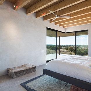Неиссякаемый источник вдохновения для домашнего уюта: хозяйская спальня среднего размера в современном стиле с серыми стенами, бетонным полом, горизонтальным камином и фасадом камина из бетона