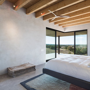 This is an example of a mid-sized contemporary master bedroom in Albuquerque with grey walls, concrete floors, a ribbon fireplace and a concrete fireplace surround.