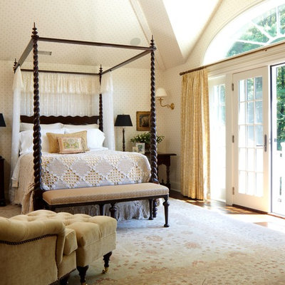 Example of a classic bedroom design in New York with multicolored walls