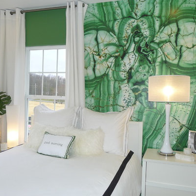 Inspiration for a modern bedroom remodel in DC Metro with green walls