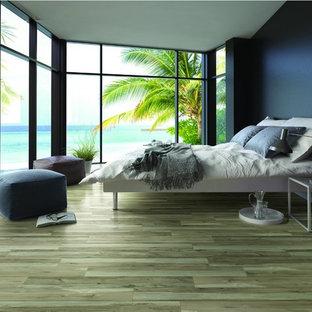 Mittelgroßes Modernes Schlafzimmer ohne Kamin mit blauer Wandfarbe, dunklem Holzboden und grünem Boden in Orange County
