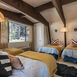 Inspiration for a medium sized bohemian guest bedroom in Sacramento with beige walls, carpet and yellow floors.