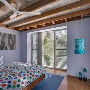 Photo of a tropical bedroom in Sydney with purple walls, medium hardwood floors and brown floor.