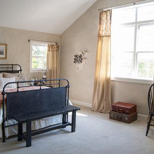 Country carpeted bedroom photo in Cincinnati with beige walls